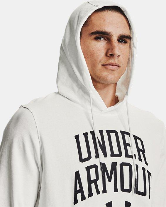 Herren UA Rival Collegiate Hoodie aus French Terry, White, pdpMainDesktop image number 5