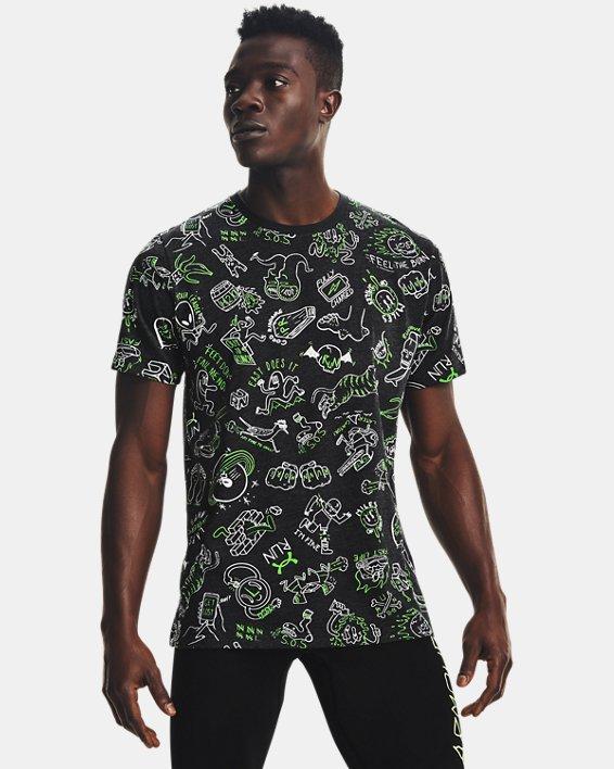 Men's UA Run Your Face Off Print Short Sleeve, Black, pdpMainDesktop image number 0