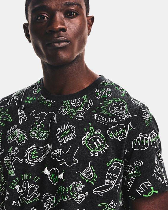 Men's UA Run Your Face Off Print Short Sleeve, Black, pdpMainDesktop image number 3