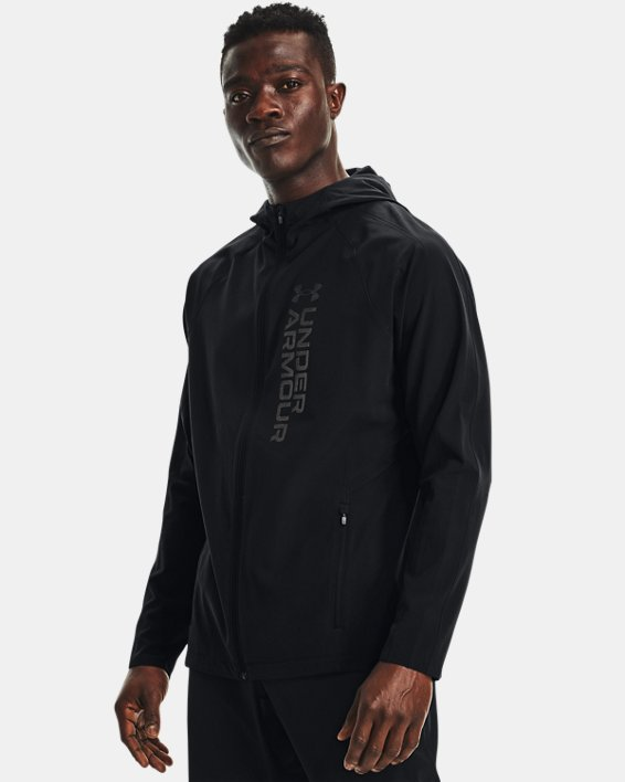 Men's UA OutRun The Storm Jacket, Black, pdpMainDesktop image number 1