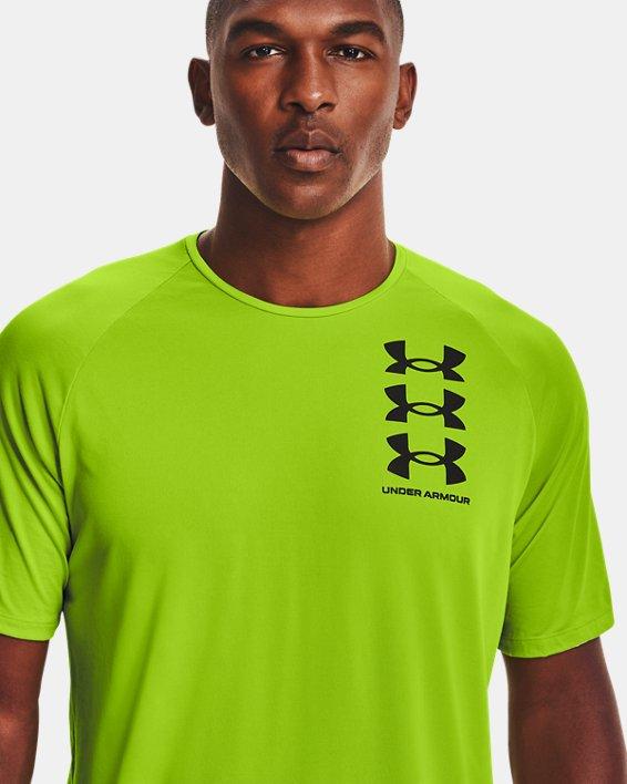 Men's UA Tech™ Triple Logo Short Sleeve, Green, pdpMainDesktop image number 3