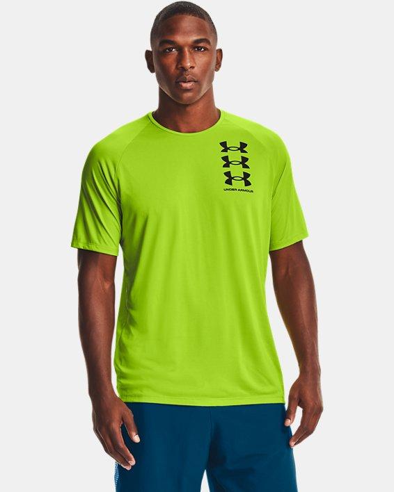 Men's UA Tech™ Triple Logo Short Sleeve, Green, pdpMainDesktop image number 0