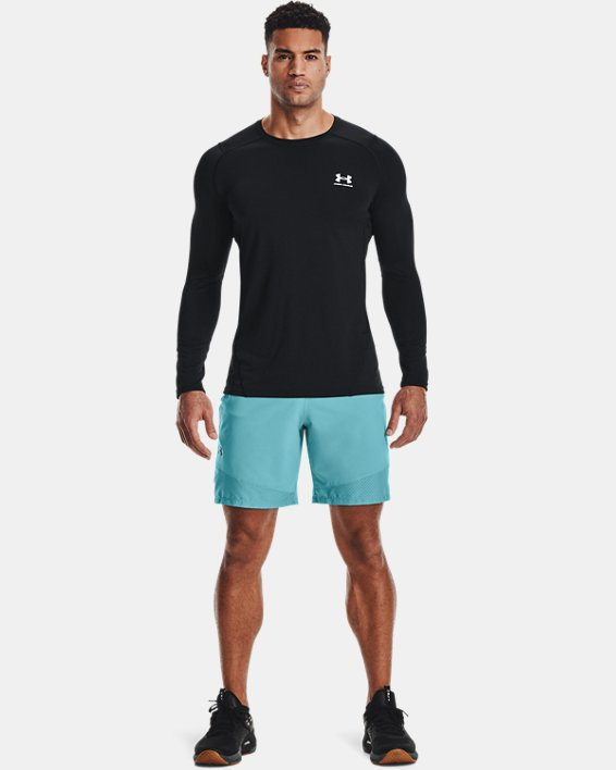 Men's HeatGear® Armour Fitted Long Sleeve, Black, pdpMainDesktop image number 0