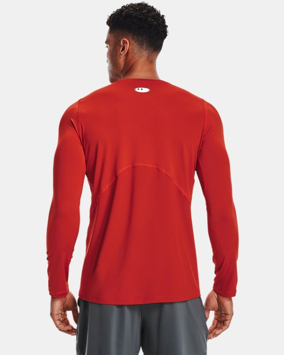 Men's HeatGear® Armour Fitted Long Sleeve, Orange, pdpMainDesktop image number 2