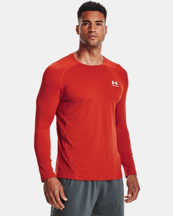 Men's HeatGear® Armour Fitted Long Sleeve, Orange, pdpMainDesktop image number 1