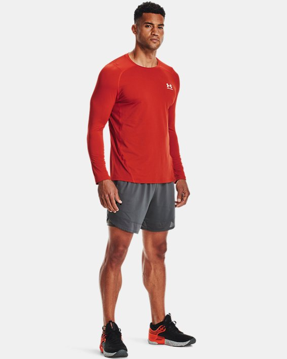 Men's HeatGear® Armour Fitted Long Sleeve, Orange, pdpMainDesktop image number 0
