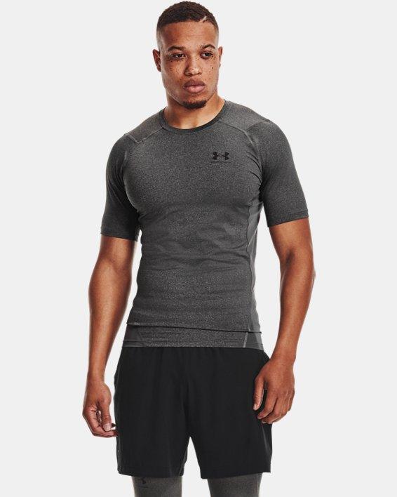 Men's HeatGear® Armour Short Sleeve, Gray, pdpMainDesktop image number 1