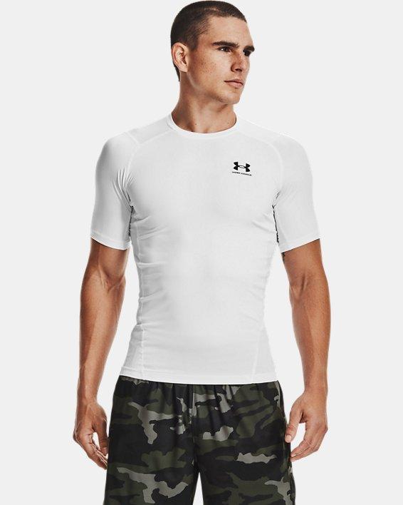 Men's HeatGear® Armour Short Sleeve, White, pdpMainDesktop image number 1