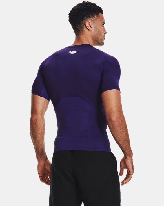 Men's HeatGear® Armour Short Sleeve, Purple, pdpMainDesktop image number 2