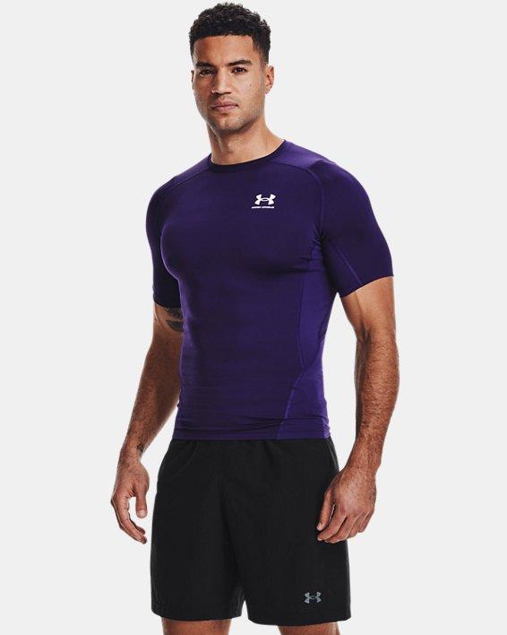 Men's HeatGear® Armour Short Sleeve, Purple, pdpMainDesktop image number 1