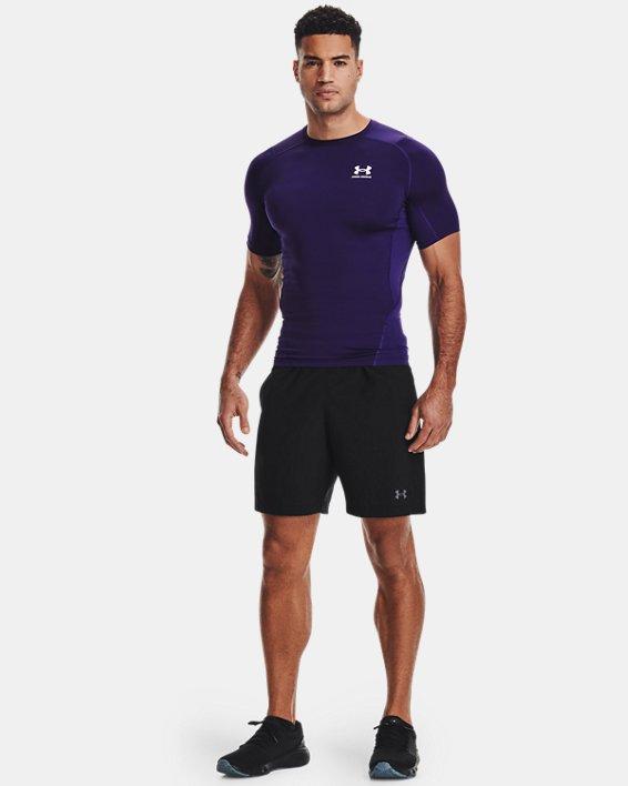 Men's HeatGear® Armour Short Sleeve, Purple, pdpMainDesktop image number 0