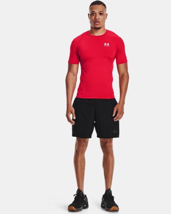 Men's HeatGear® Armour Short Sleeve, Red, pdpMainDesktop image number 0