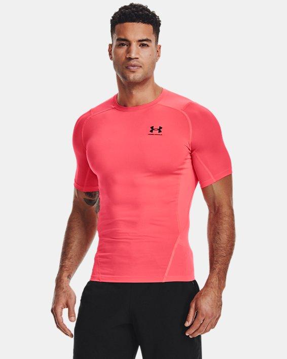 Men's HeatGear® Armour Short Sleeve, Red, pdpMainDesktop image number 1