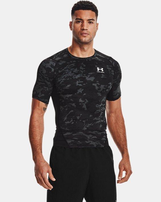 Men's HeatGear® Armour Camo Short Sleeve, Black, pdpMainDesktop image number 1