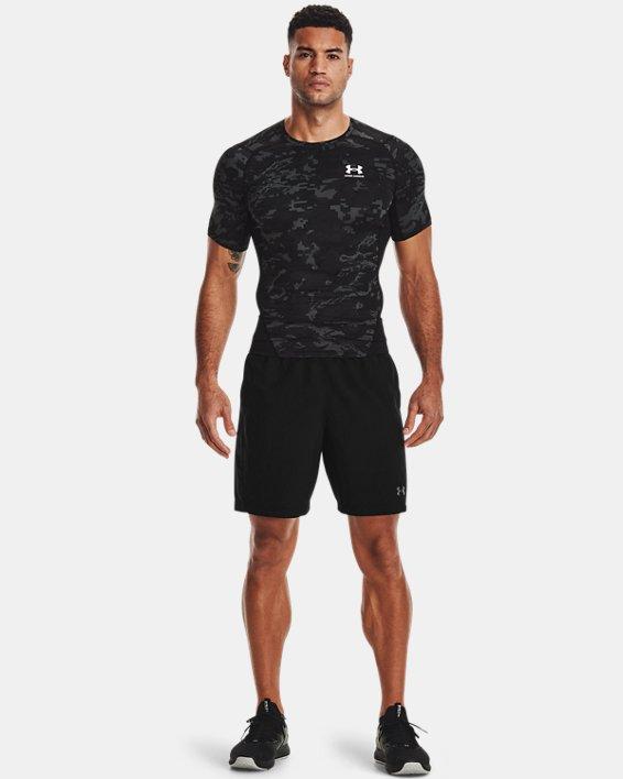 Men's HeatGear® Armour Camo Short Sleeve, Black, pdpMainDesktop image number 0