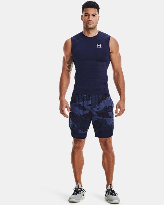 Men's HeatGear® Armour Sleeveless, Navy, pdpMainDesktop image number 0