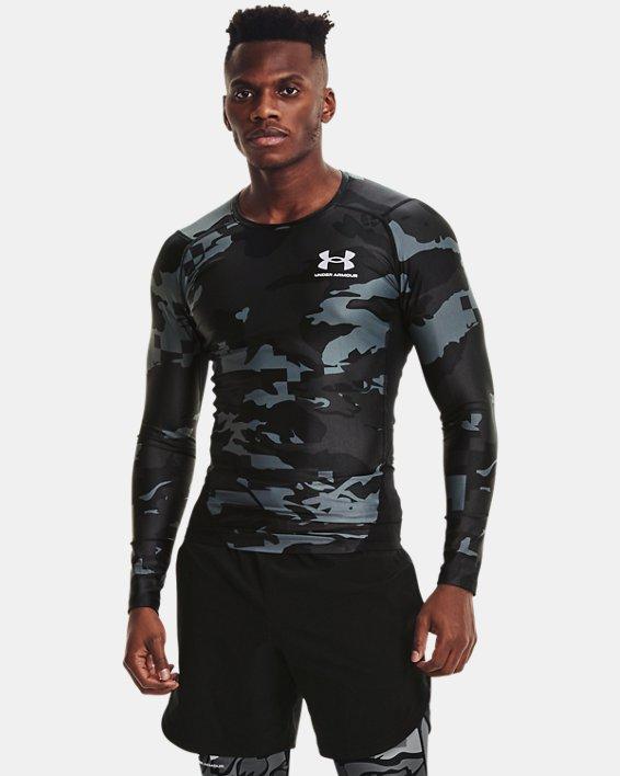 Men's UA Iso-Chill Compression Printed Long Sleeve, Black, pdpMainDesktop image number 1