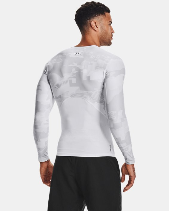 Camiseta de manga larga UA Iso-Chill Compression Printed para hombre, White, pdpMainDesktop image number 2
