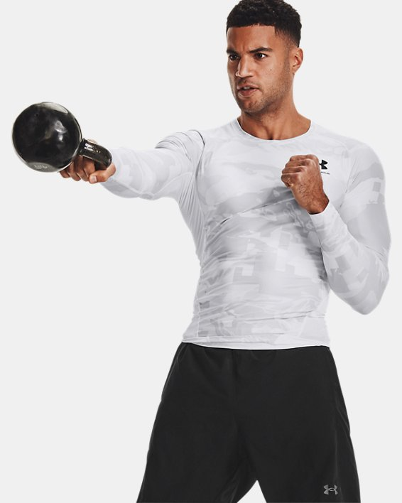 Camiseta de manga larga UA Iso-Chill Compression Printed para hombre, White, pdpMainDesktop image number 6