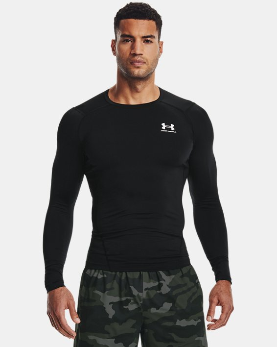 Herren HeatGear® Armour Langarm-Oberteil, Black, pdpMainDesktop image number 1