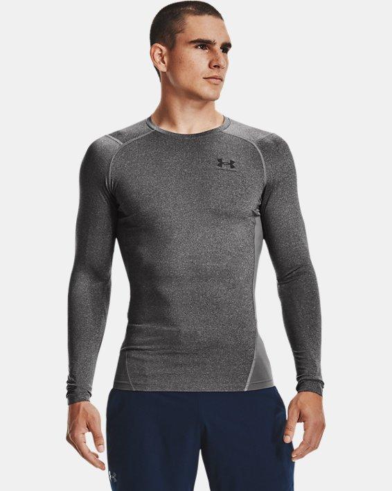 Men's HeatGear® Armour Long Sleeve, Gray, pdpMainDesktop image number 1