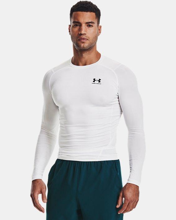 Camiseta de manga larga HeatGear® Armour para hombre, White, pdpMainDesktop image number 1