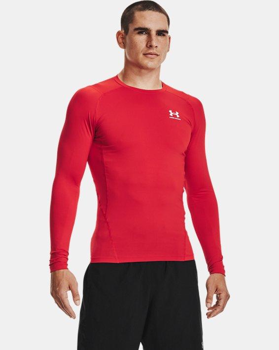Men's HeatGear® Armour Long Sleeve, Red, pdpMainDesktop image number 1