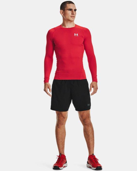 Men's HeatGear® Armour Long Sleeve, Red, pdpMainDesktop image number 0