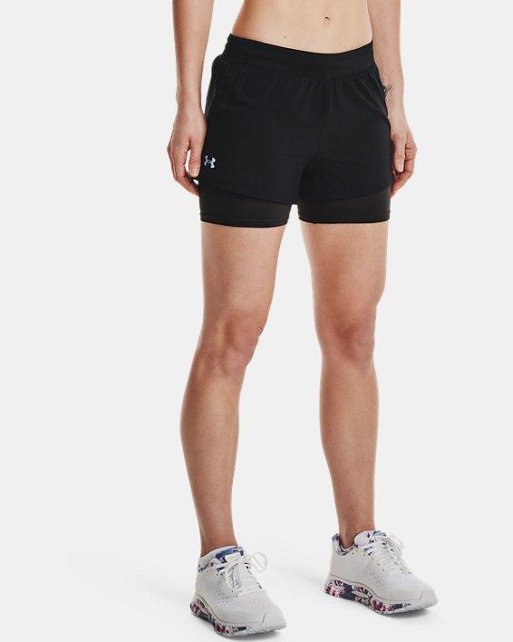Women's UA Iso-Chill Run 2-in-1 Shorts, Black, pdpMainDesktop image number 1