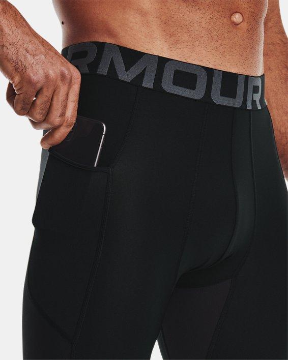 Men's HeatGear® Armour ¾ Leggings, Black, pdpMainDesktop image number 3