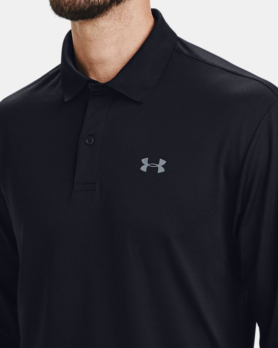 Men's UA Performance Textured Long Sleeve Polo, Black, pdpMainDesktop image number 3