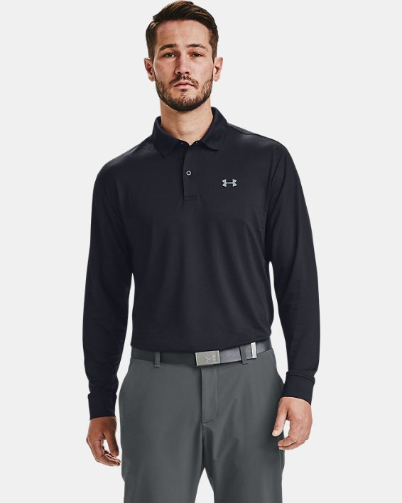 Men's UA Performance Textured Long Sleeve Polo, Black, pdpMainDesktop image number 1