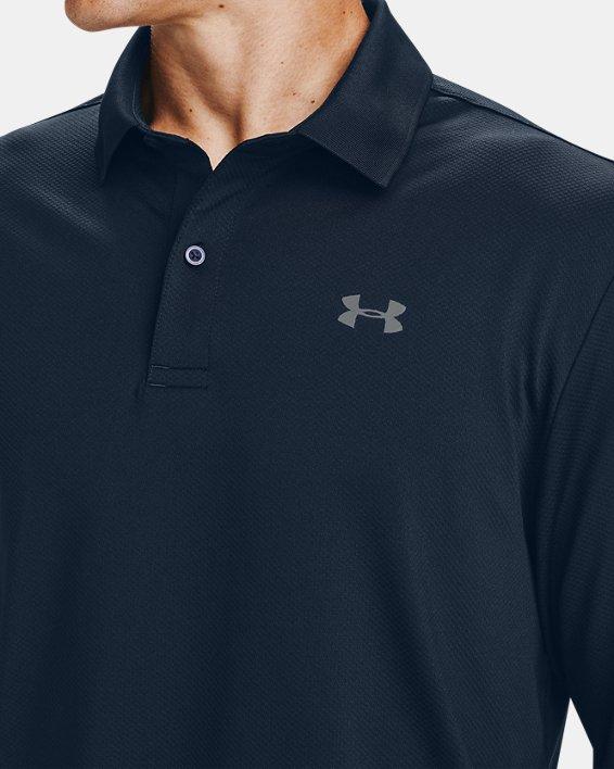 Men's UA Performance Textured Long Sleeve Polo, Navy, pdpMainDesktop image number 3