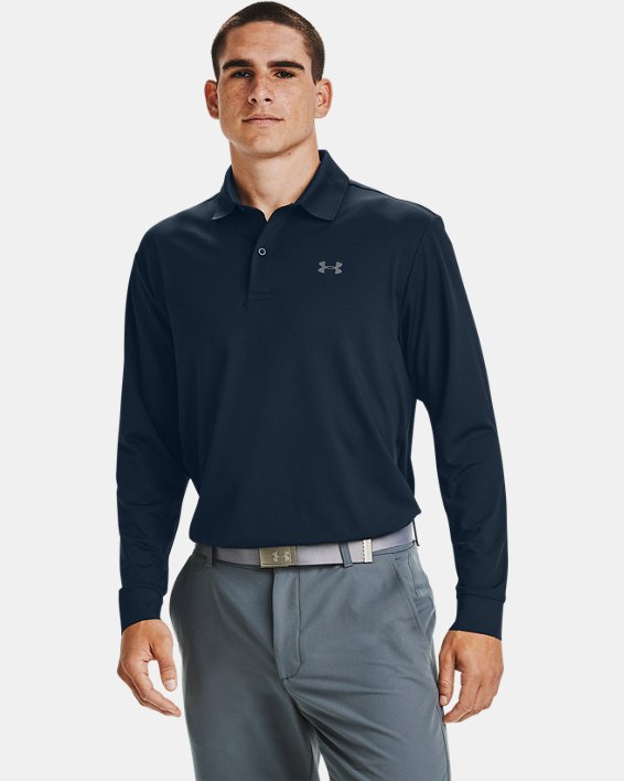 Men's UA Performance Textured Long Sleeve Polo, Navy, pdpMainDesktop image number 1