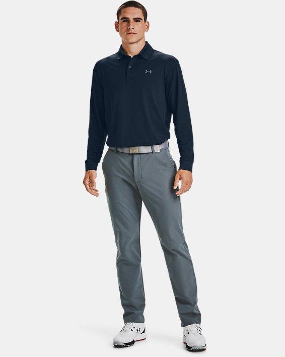 Men's UA Performance Textured Long Sleeve Polo, Navy, pdpMainDesktop image number 0