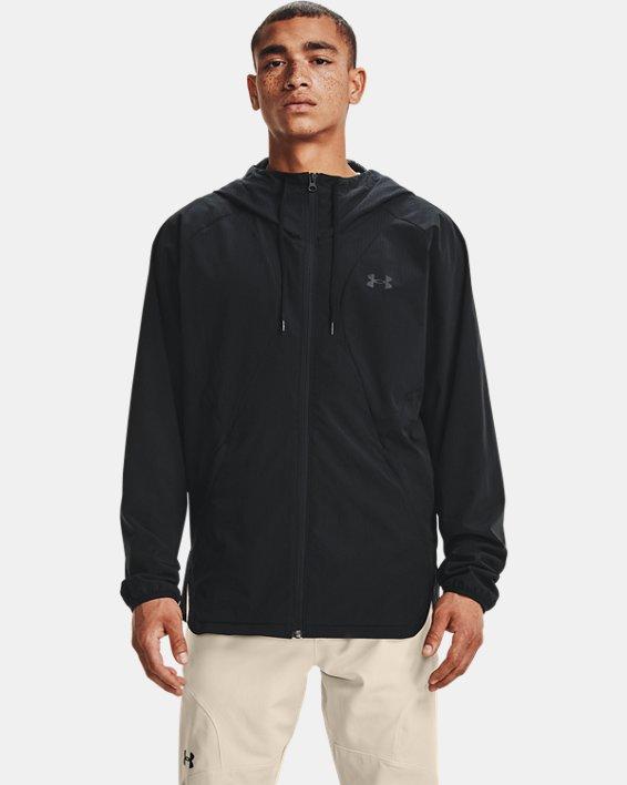 Men's UA Woven Windbreaker Jacket, Black, pdpMainDesktop image number 0