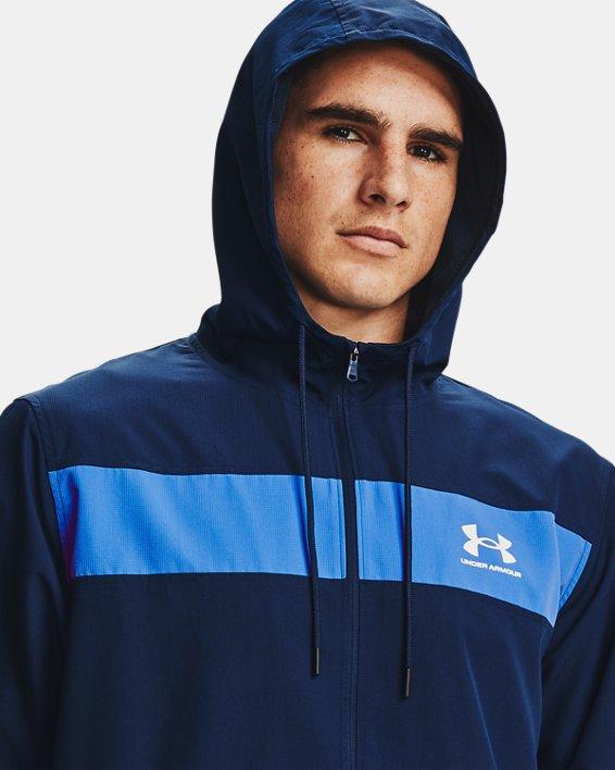 Men's UA Sportstyle Windbreaker Jacket, Navy, pdpMainDesktop image number 3