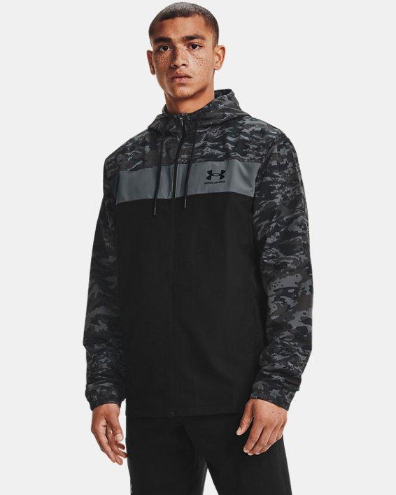 Men's UA Sportstyle Camo Windbreaker Jacket, Black, pdpMainDesktop image number 1