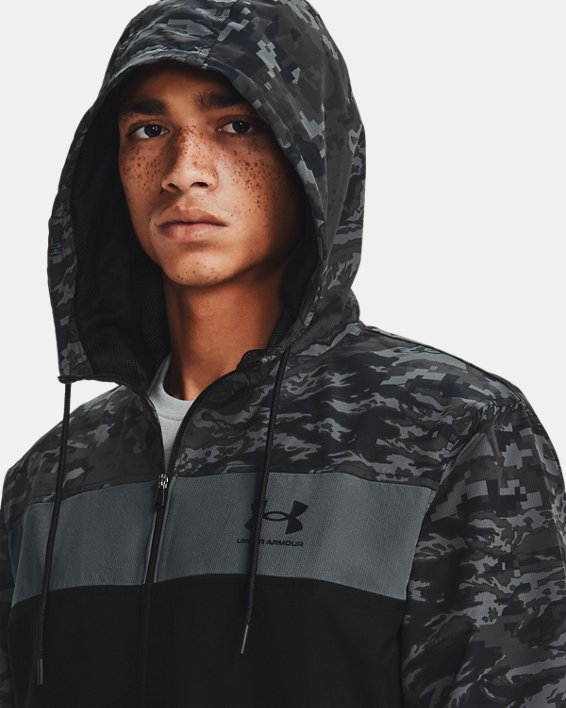 Men's UA Sportstyle Camo Windbreaker Jacket, Black, pdpMainDesktop image number 5