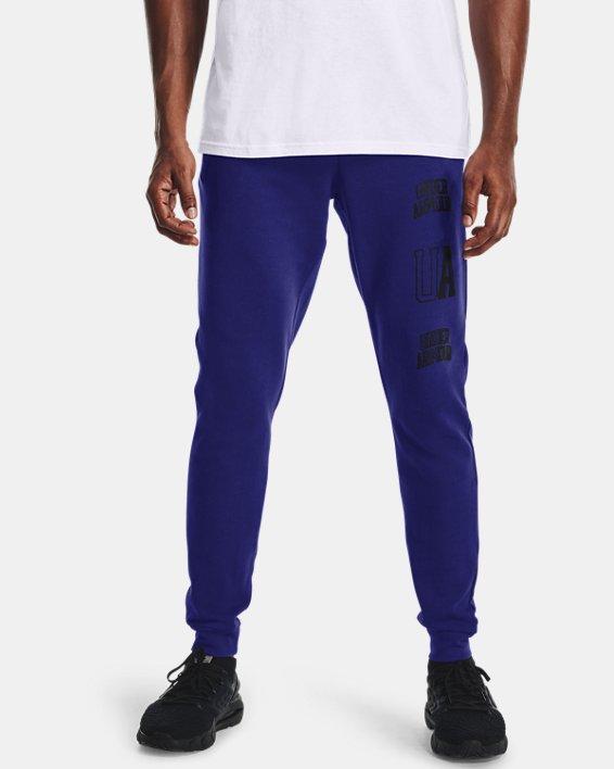 Men's UA Rival Terry Collegiate Joggers, Blue, pdpMainDesktop image number 1