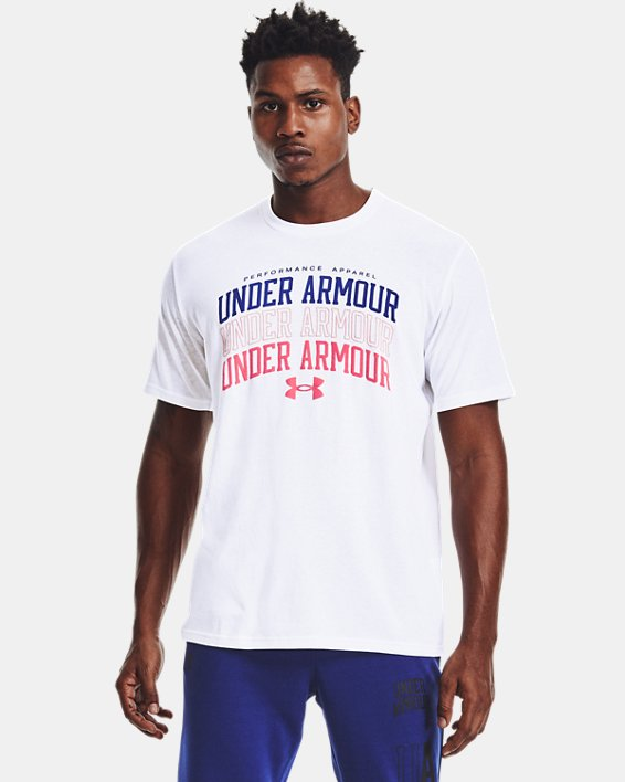 Men's UA Multi Color Collegiate Short Sleeve, White, pdpMainDesktop image number 0