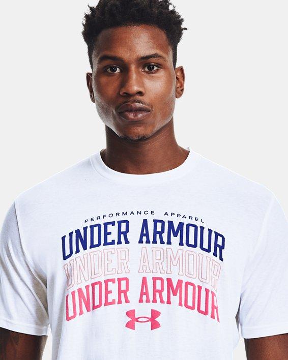 Men's UA Multi Color Collegiate Short Sleeve, White, pdpMainDesktop image number 3