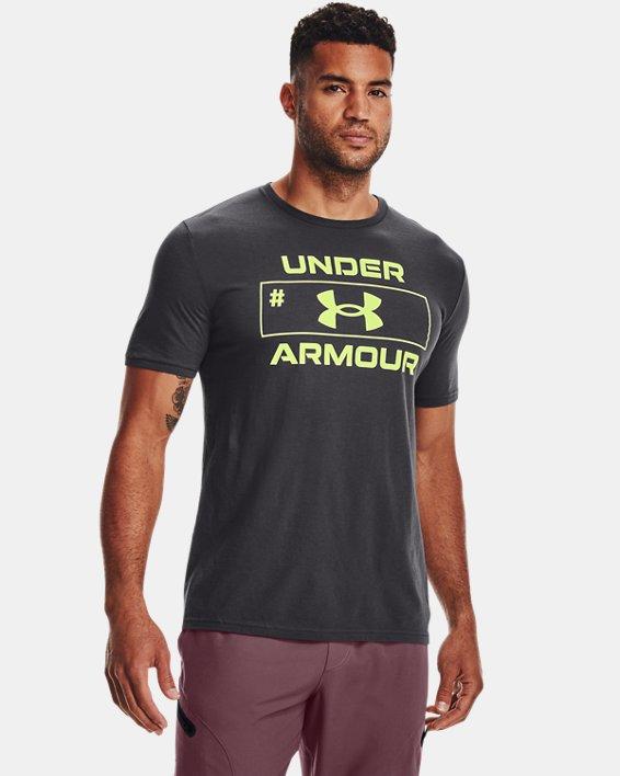 Camiseta de manga corta UA Number Script para hombre, Gray, pdpMainDesktop image number 0