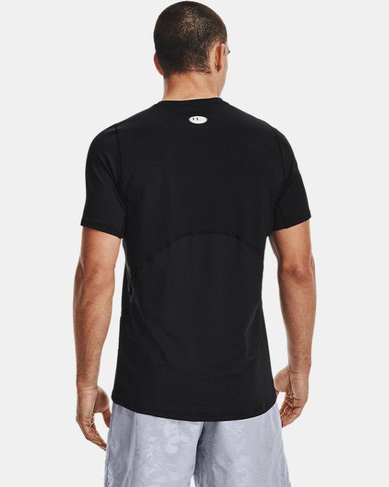Men's HeatGear® Armour Fitted Short Sleeve, Black, pdpMainDesktop image number 2