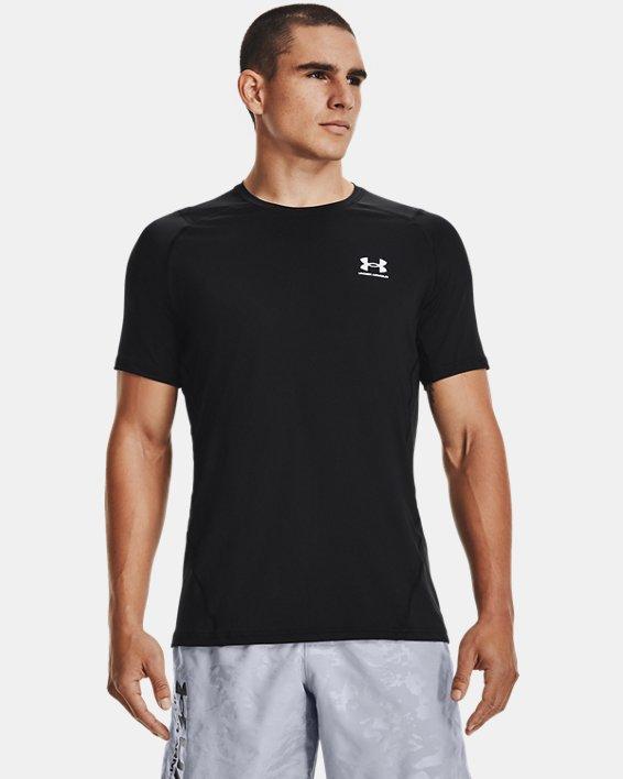 Men's HeatGear® Armour Fitted Short Sleeve, Black, pdpMainDesktop image number 1