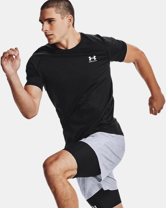 Men's HeatGear® Armour Fitted Short Sleeve, Black, pdpMainDesktop image number 5