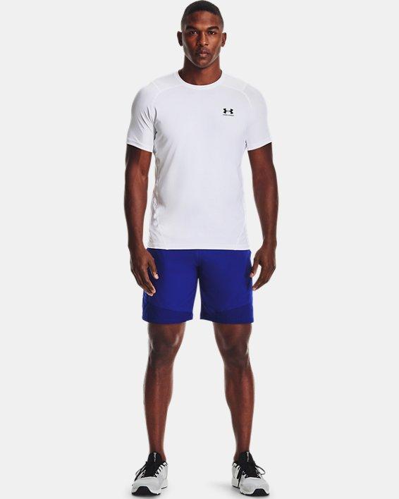 Men's HeatGear® Armour Fitted Short Sleeve, White, pdpMainDesktop image number 0