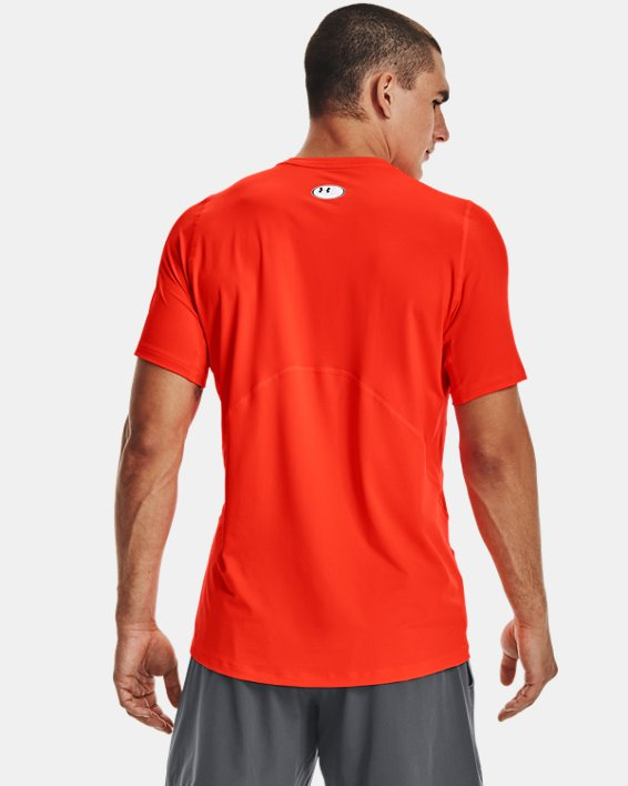 Men's HeatGear® Armour Fitted Short Sleeve, Orange, pdpMainDesktop image number 2