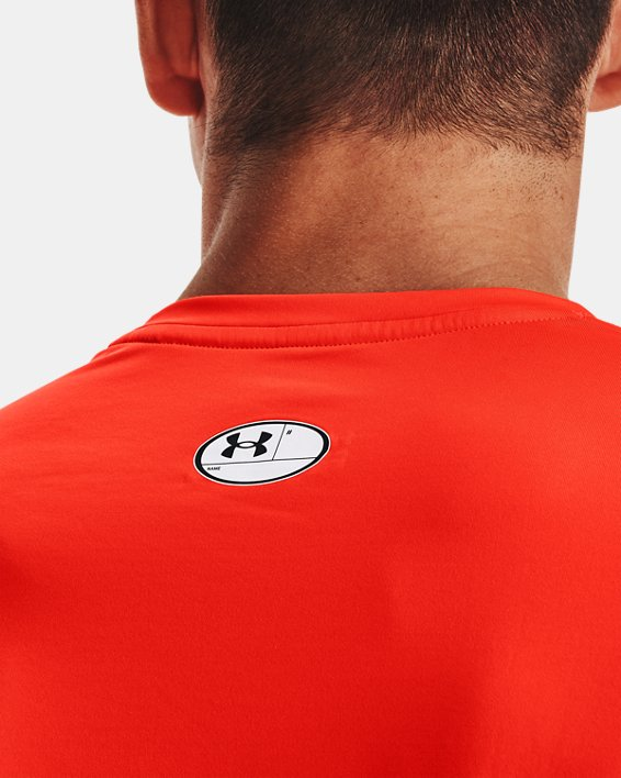 Men's HeatGear® Armour Fitted Short Sleeve, Orange, pdpMainDesktop image number 5