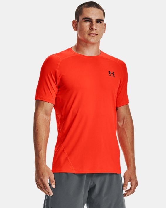 Men's HeatGear® Armour Fitted Short Sleeve, Orange, pdpMainDesktop image number 1